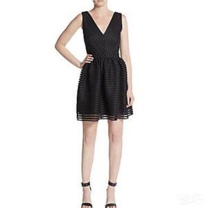RED Saks Fifth Avenue Fit & Flare Black Lace Dress